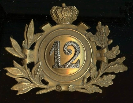 Plaque dde shako d'officier du 12e de Ligne; collection Marc Poelmans